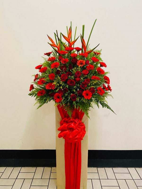 Red Fortune Opening Flowers Stand